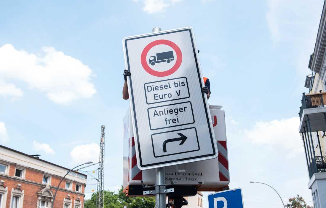 Hamburg inför körförbud för äldre dieselbilar på två gator i staden. Arkivbild.