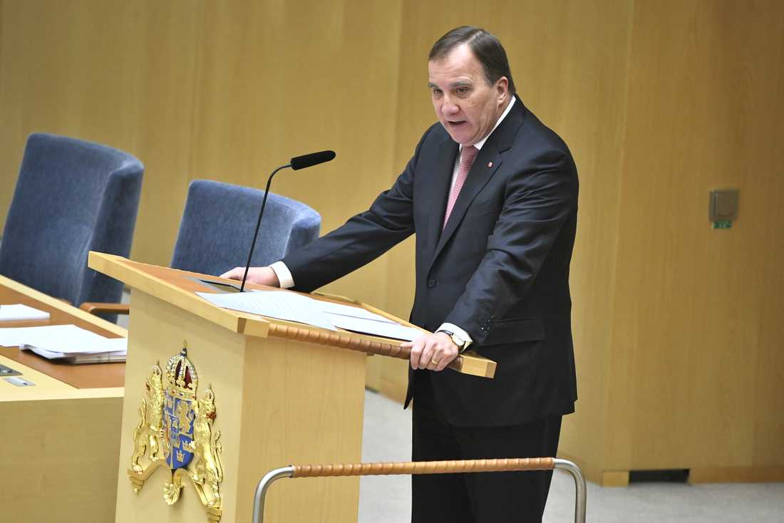 Statsminister Stefan Löfven (S) under den EU-politiska partiledardebatten i riksdagshuset.