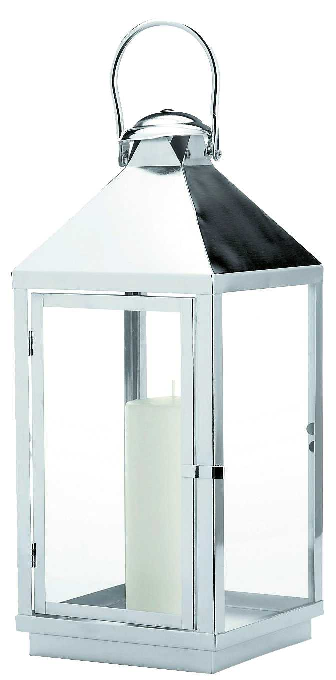 Vit ljuslykta 45 centimeter hög, blir pampig på altanbordet. Åhléns, 350 kr.