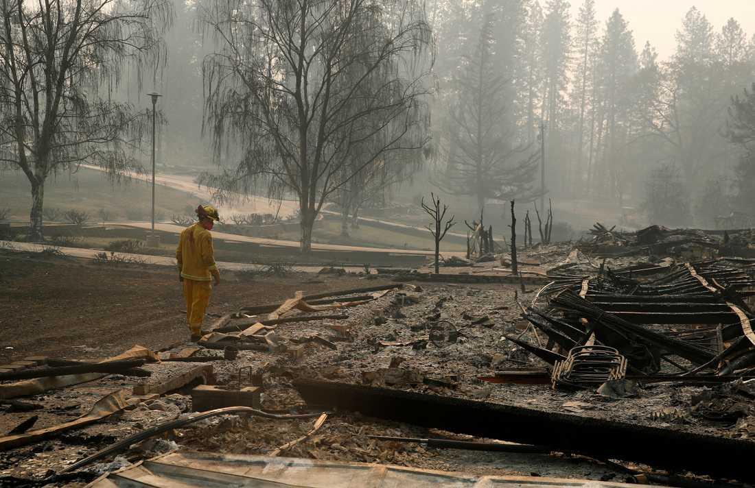 En brandman söker igenom ett område efter den så kallade Camp Fire-branden.