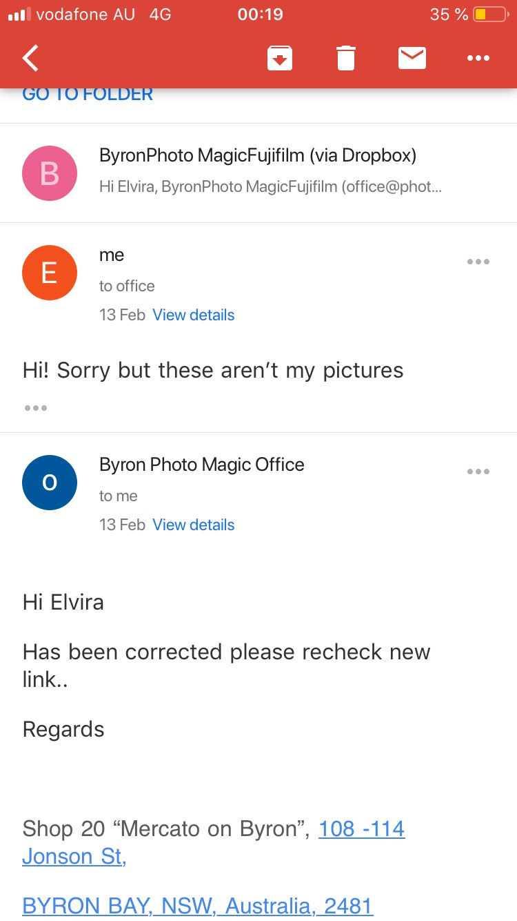Mailkonversation med fotobutiken.