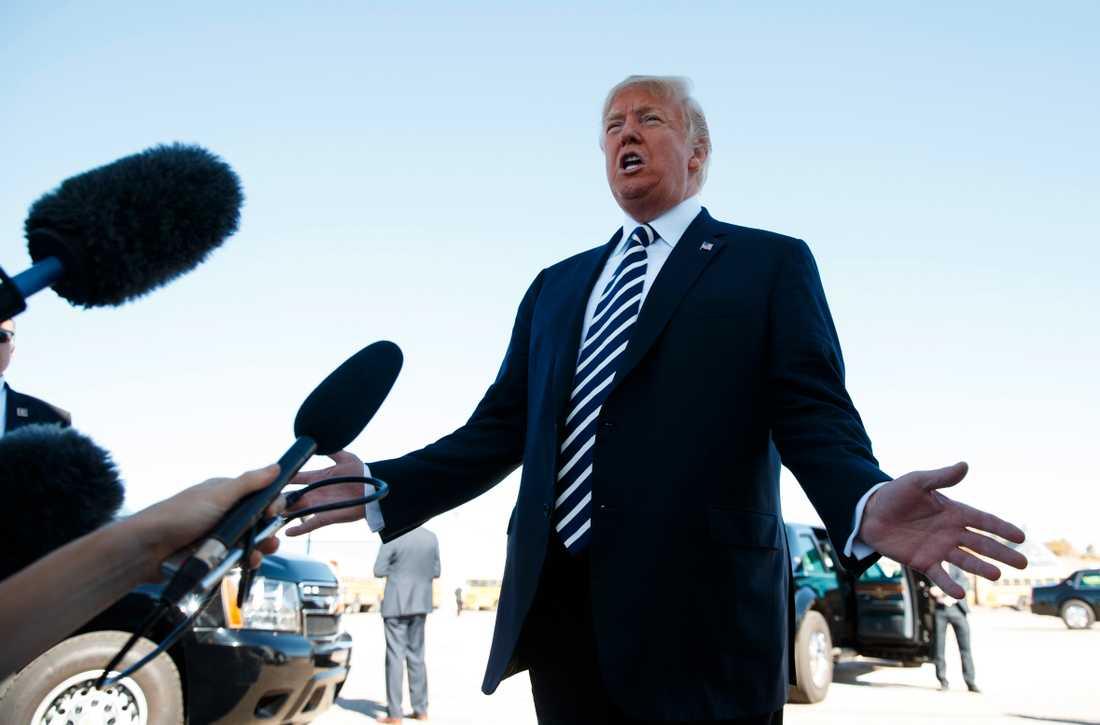 USA:s president Donald Trump efter ett politiskt massmöte i Nevada.