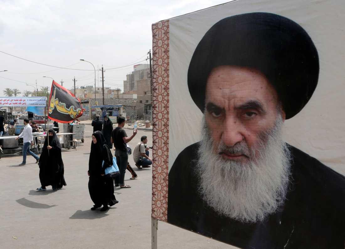 Storayatollan Ali al-Sistani uttalar sig sällan om politik. Arkivbild.
