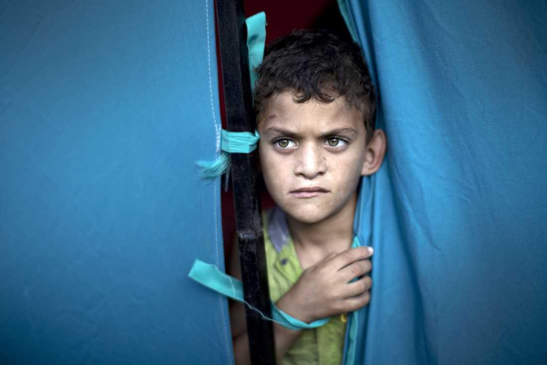En palestinsk pojke på al-Shifa-sjukhuset i Gaza City.