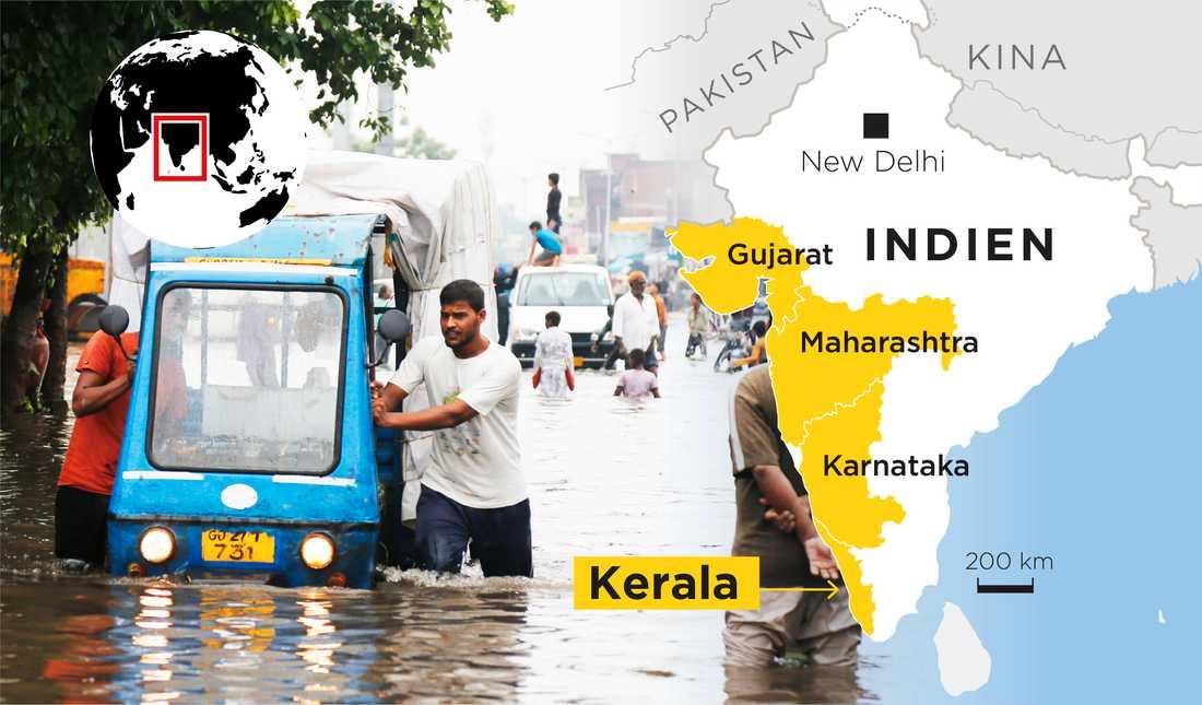 Invånare i Kerala varnas nu för kraftiga regn. Flera delstater i Indien har drabbats av regn och översvämningar under sommaren.