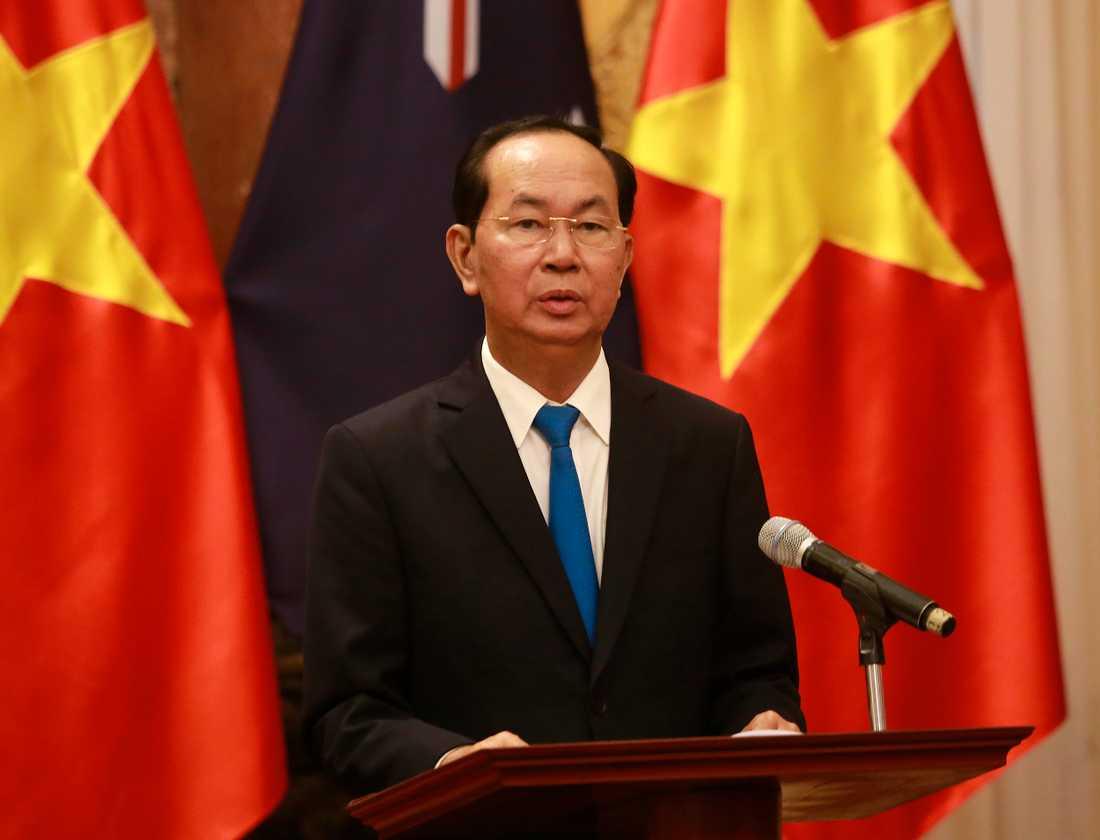 Vietnams president Tran Dai Quang under en presskonferens i Hanoi i maj i år.