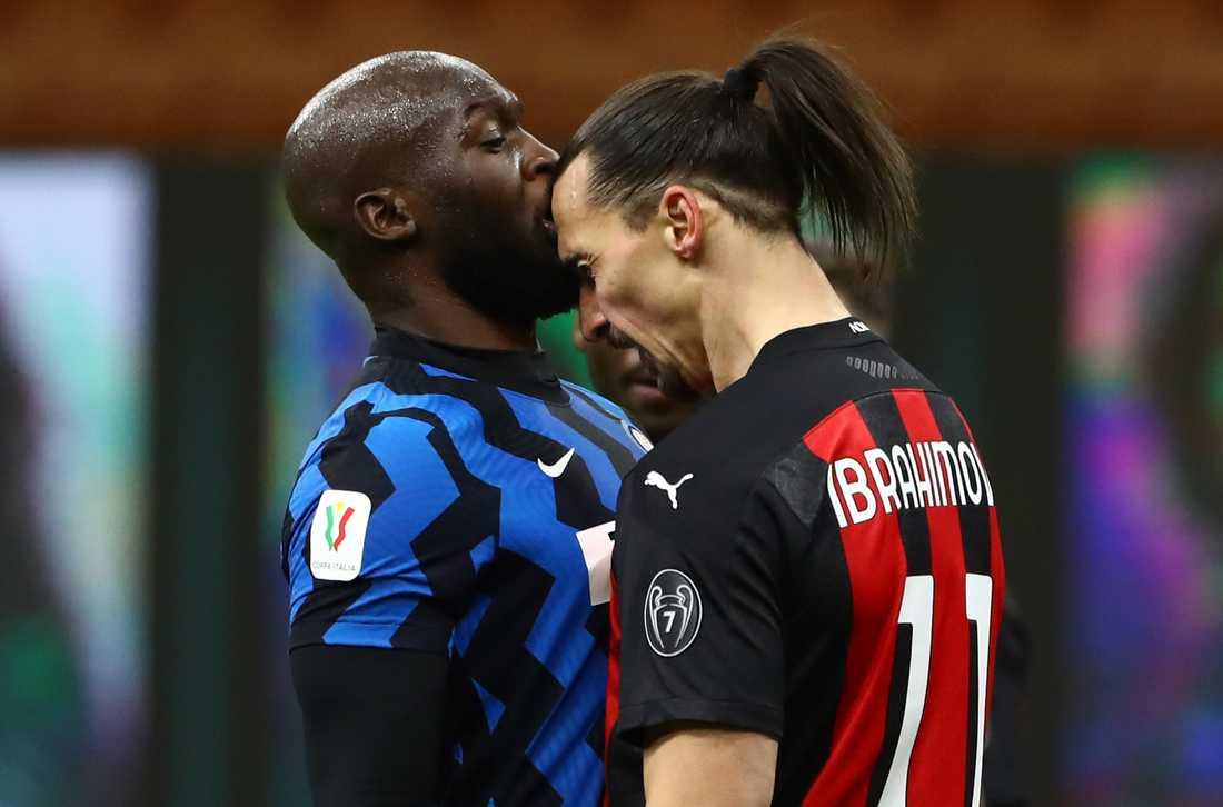 Romelu Lukaku och Zlatan Ibrahimovic i bråk när Inter mötte Milan i Serie A i vintras.