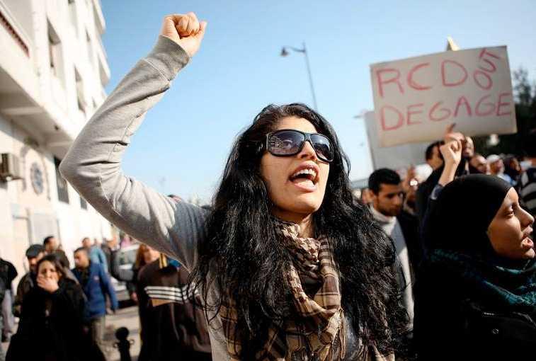 Även under måndagen var det demonstrationer i Tunis.