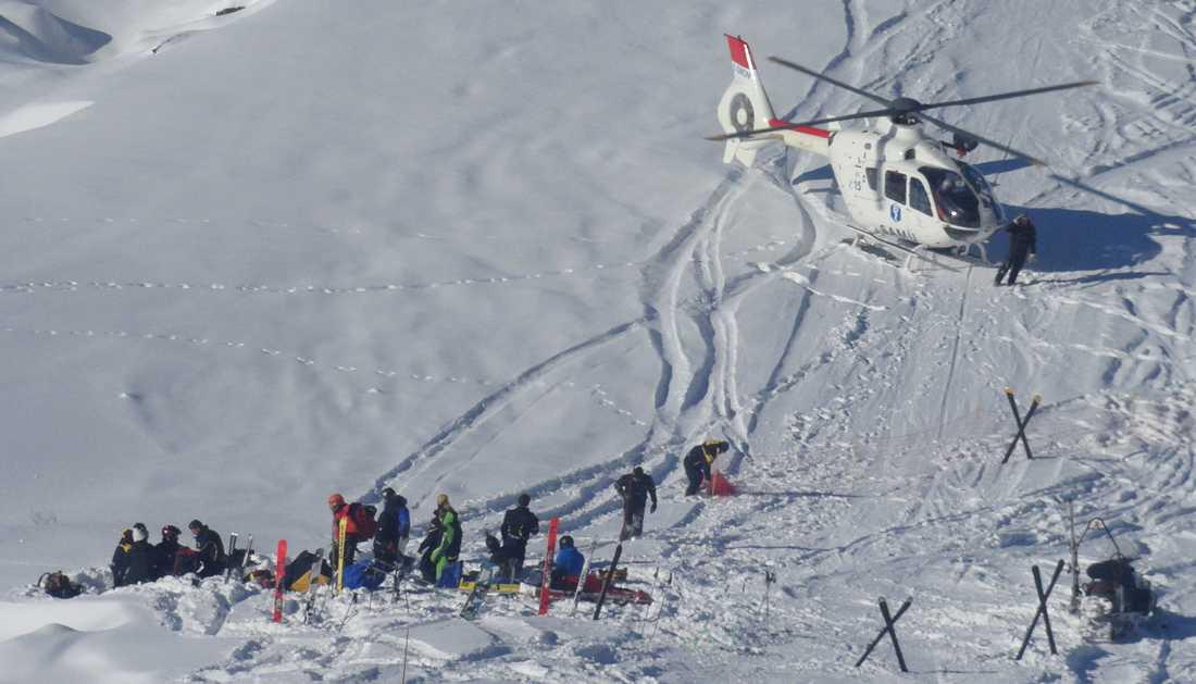 Olycksplatsen där Michael Schumacher hämtades med helikopter.