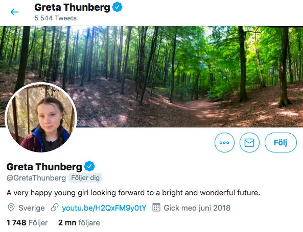 Klimataktivisten tog fasta på presidentens ord och använder de i sin beskrivning på Twitter.