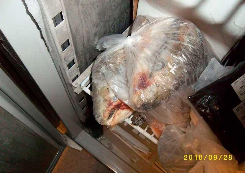 Tveksam förvaring av livsmedel på Brommavik hotell. Ett av många fel som upptäcktes vid inspektionen.