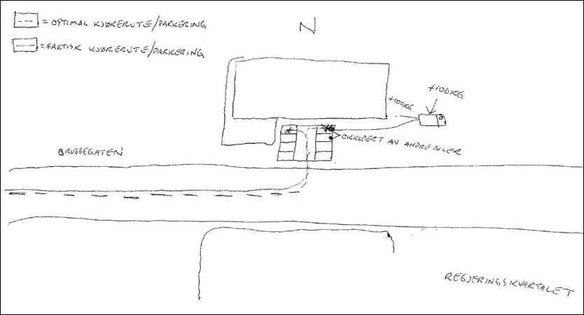 Breiviks teckning till polisen Med den här teckningen visar Anders Behring Breivik var han egentligen ville ställa sin bil med sprängmedel.