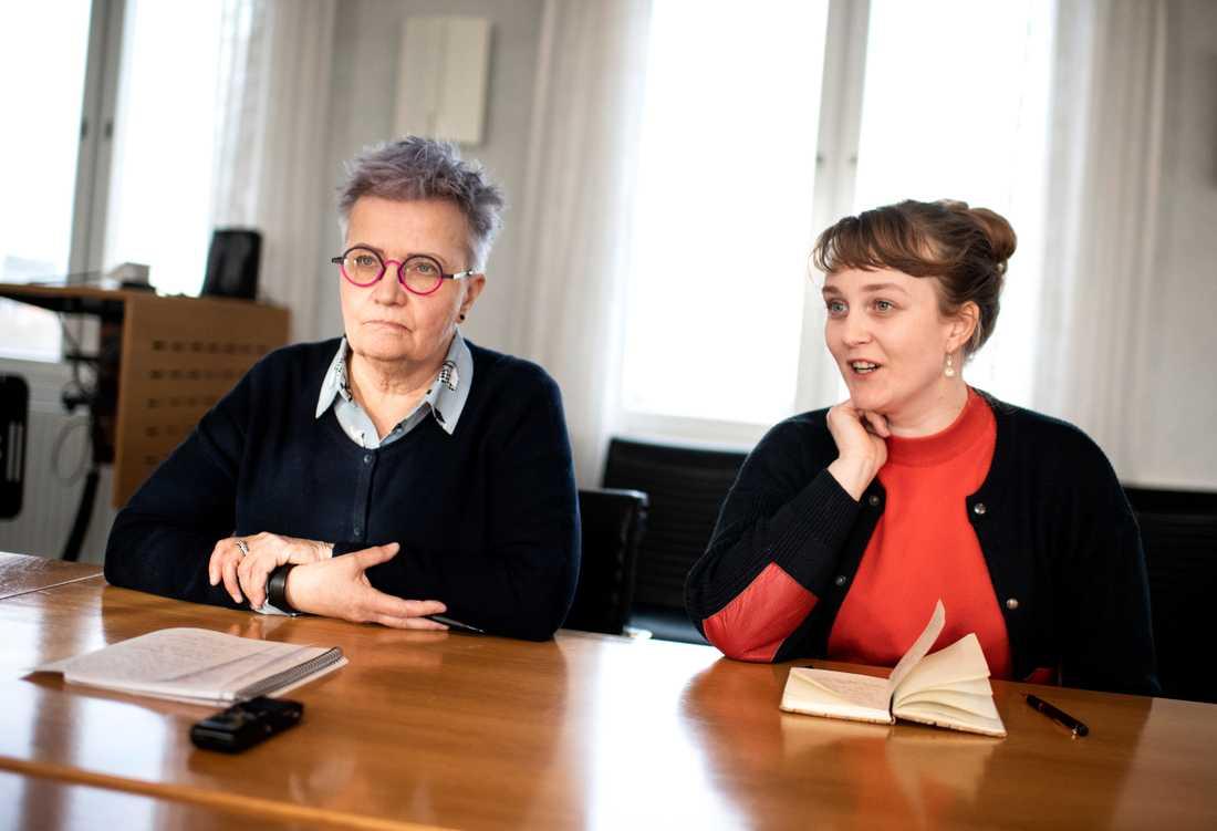 Kerstin Salomonsson, ordförande i Svenska Tornedalingars Riksförbund (STR-T) och Hanna Aili, ordförande i ungdomsförbundet Met Nuoret.