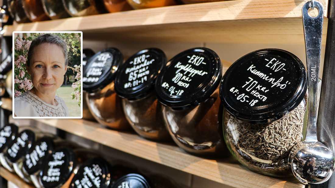 """Eldsjälen Rowan Drury har en bakgrund inom marknadsföring och med ett stort miljöintresse startade hon sin butik. """"Jag inspirerades av butiker i Tyskland och mitt hemland Storbritannien"""", berättar hon."""