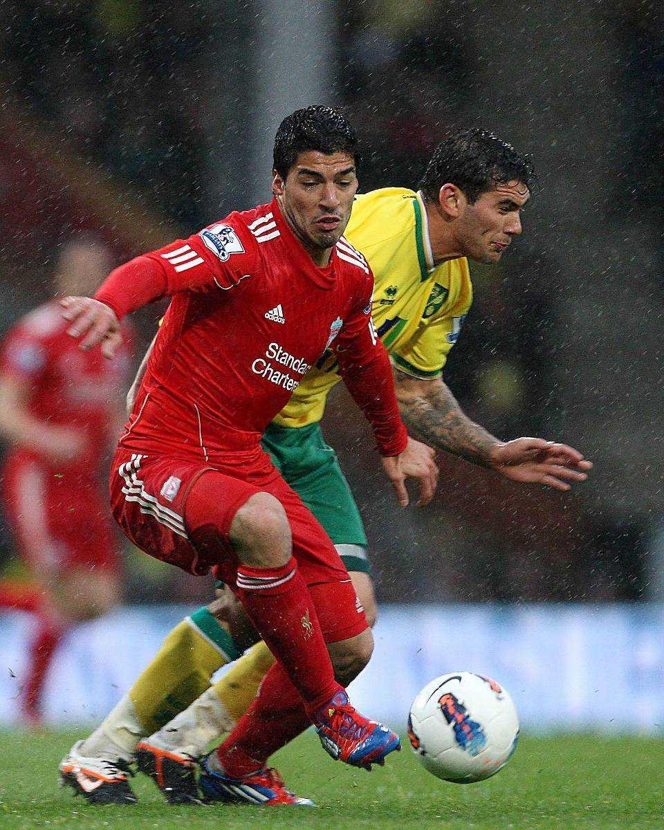 Luis Suarez brukar trivas mot Norwich.