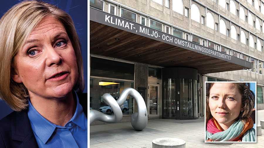 """I morse bytte Greenpeace namn på Finansdepartementet till """"Klimat-, miljö- och omställningsdepartemetet"""". """"Nu har Magdalena Andersson en unik möjlighet att byta spår"""", skriver Isadora Wronski, Sverigechef, på Greenpeace."""