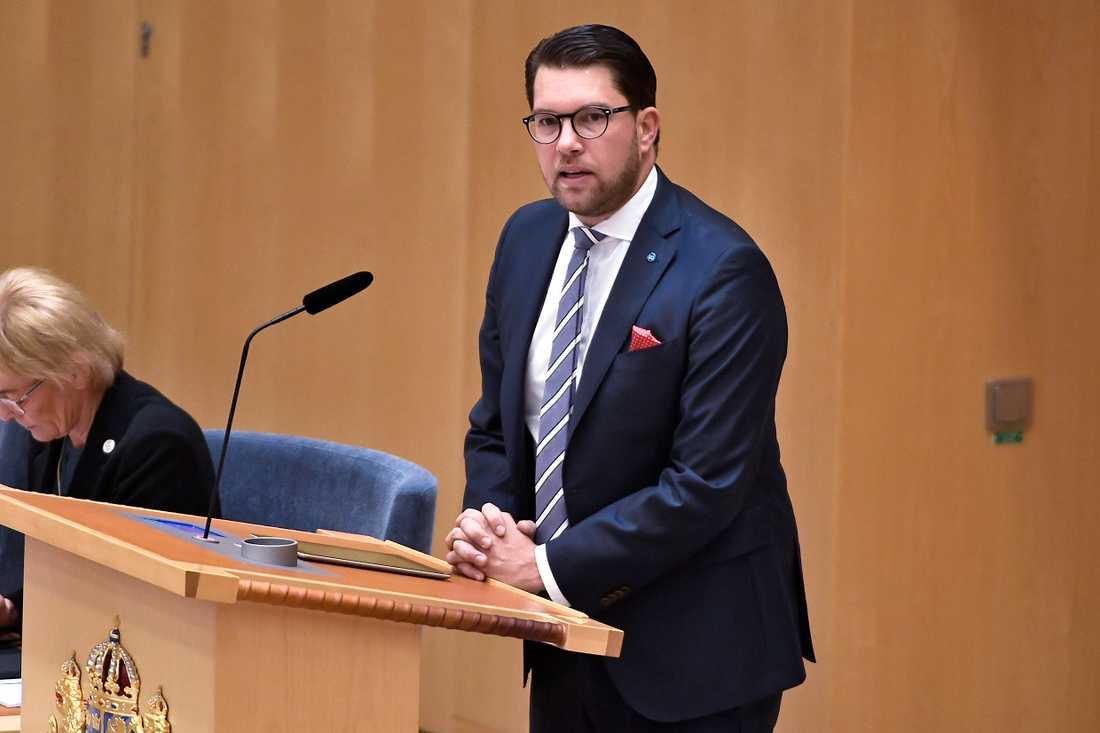 Sverigedemokraternas partiledare Jimmie Åkesson (SD) under partiledardebatt i riksdagen i Stockholm.