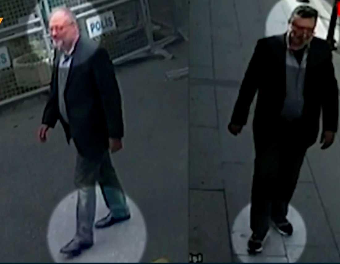 Jamal Khashoggi till vänster, en man klädd i Khashoggis kläder till höger.