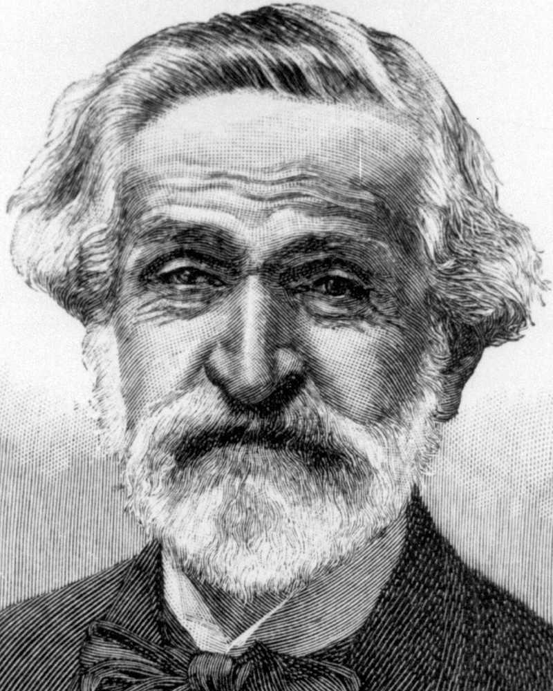 """Giuseppe Verdi Föddes 10 oktober 1813 i fattig landsbygdsmiljö, studerade i Milano. Fulländade och förfinande den redan rådande franska och italienska traditionen med operor som """"Rigoletto"""", """"La Traviata"""" och """"Nabucco"""". Sin """"Aida"""" gjorde han till invigningen av Suezkanalen. Hans musik upplevs ofta som lättillgänglig och många känner igen fångarnas kör ur """"Nabucco"""" eller triumfmarschen i """"Aida"""" utan att veta att det är Verdi som skrivit dem. Källa: NE"""