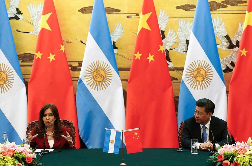 Argentinas president Cristina Fernandez de Kirchner tillsammans med president Xi Jinping.