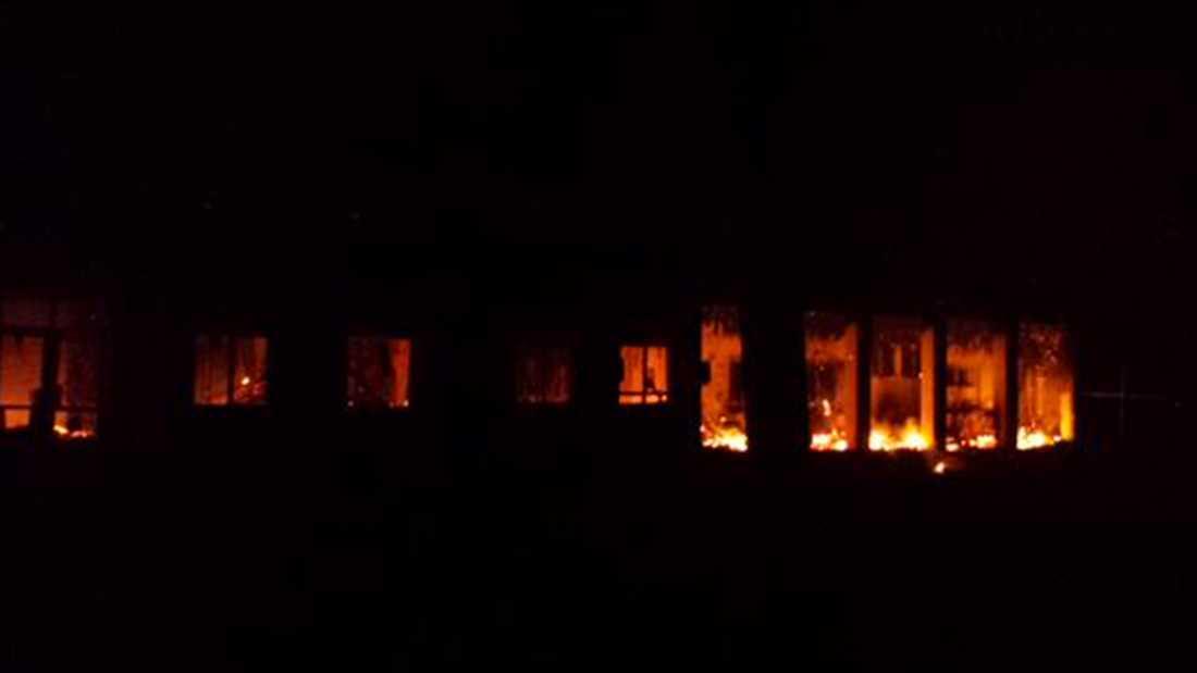 Sjukhuset träffades av flera bomber.