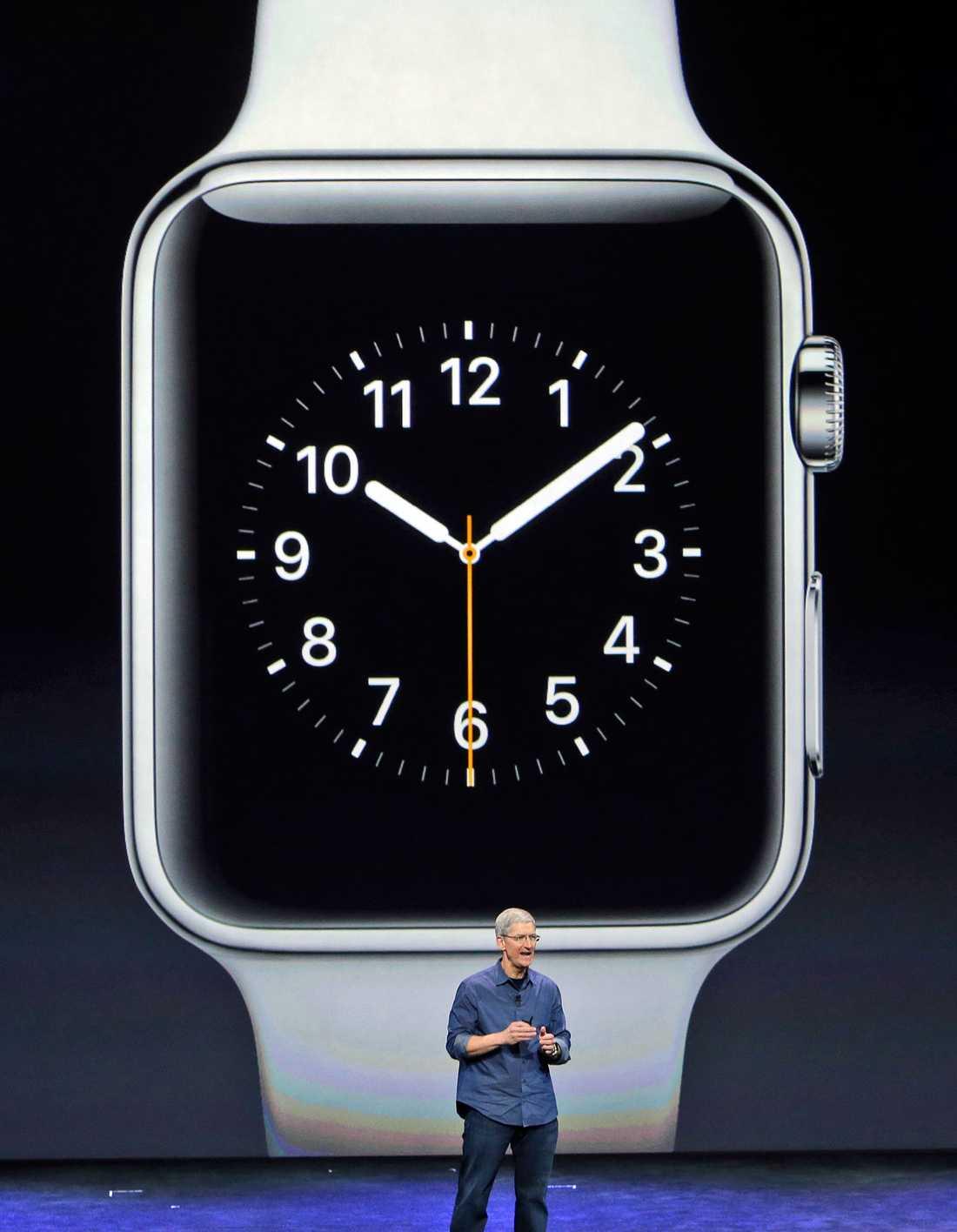 """Nya Applewatch. En """"smart klocka"""" där man kan läsa meddelanden, visa kartor, rita symboler och använda sociala medier. Dessutom ska det finnas en inbyggd träningsapp i den."""
