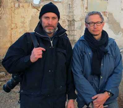 Niclas Hammarström och Magnus Falkehed i Syrien innan de blev bortförda.