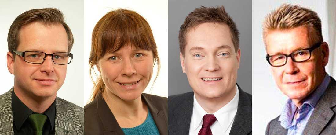 Debattörerna Mikael Damberg och Åsa Romson från regeringen samt Olof Holmer och Claes Mittjas från färgbranschen.