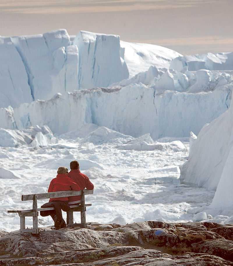 Smältande glaciärer på Grönland.