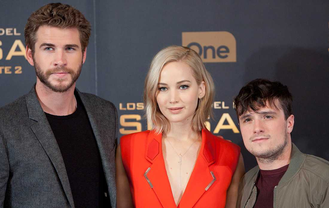 Liam Hemsworth, Jennifer Lawrence och Josh Hutcherson.