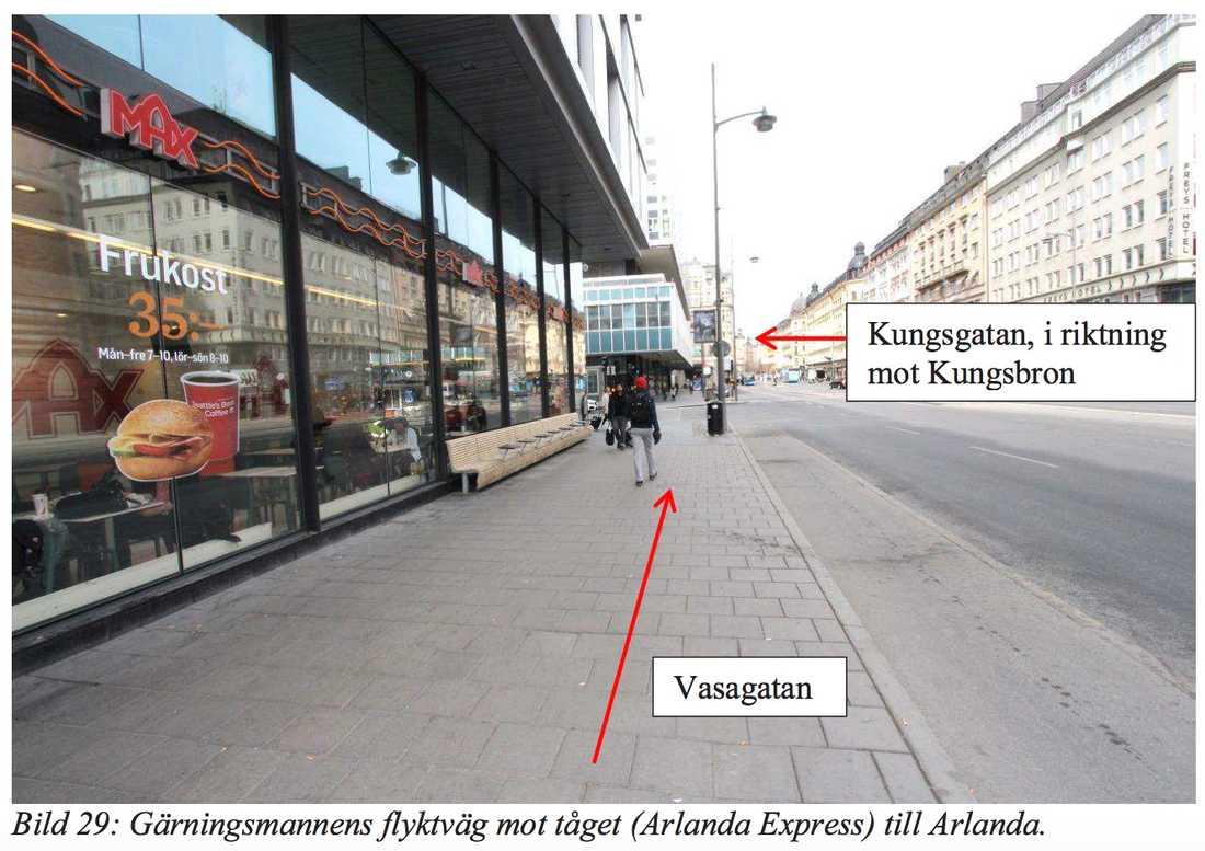 Förbi Max och upp längs med Kungsgatan i riktning mot Kungsholmen.