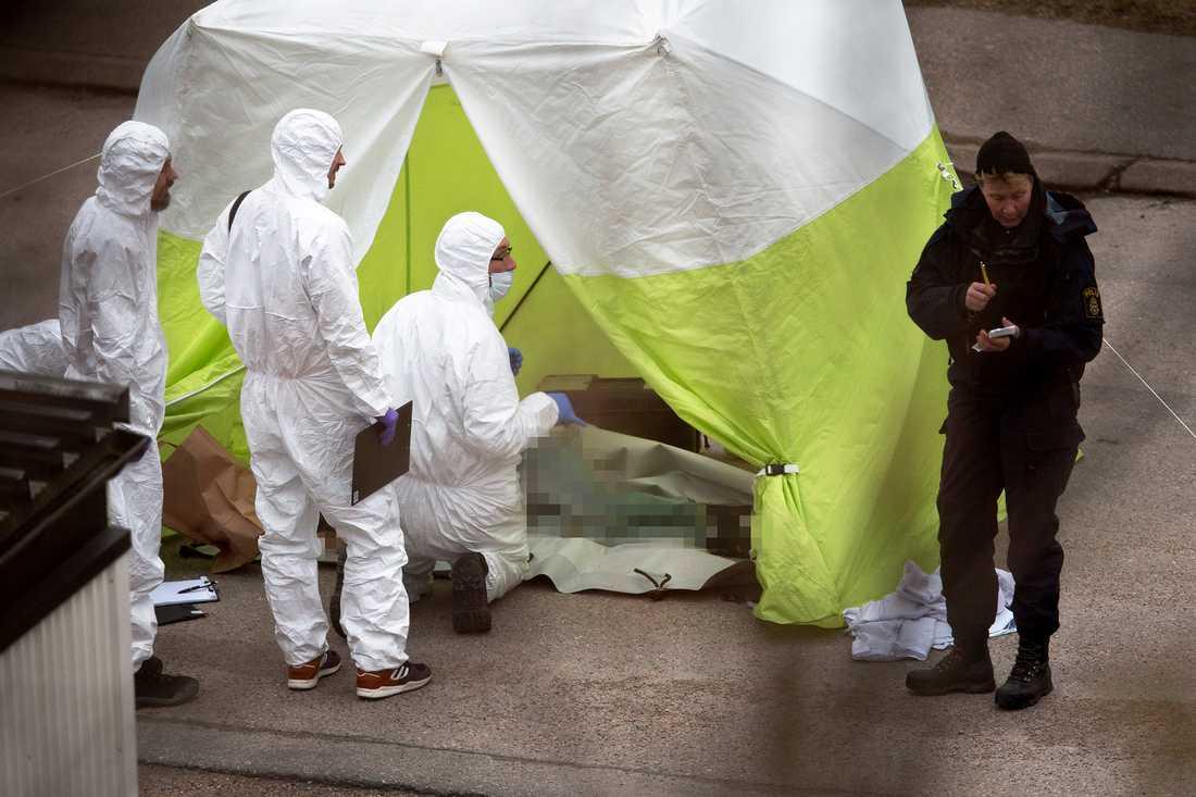 Polisens tekniker arbetar på platsen i närheten av Uddevalla sjukhus där tre mördade personer hittades på lördagsmorgonen.