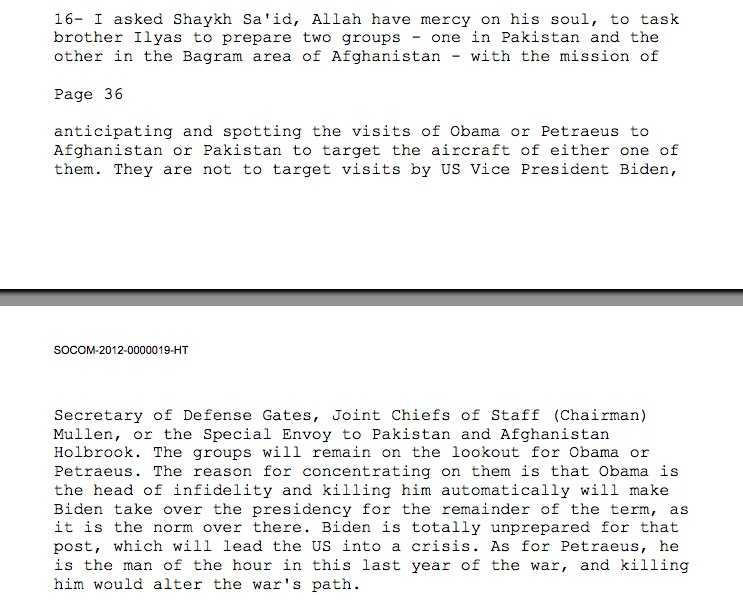 Här är den engelska översättningen av bin Ladens brev, som USA:s försvarshögskolans West Points Combating center släppte idag.