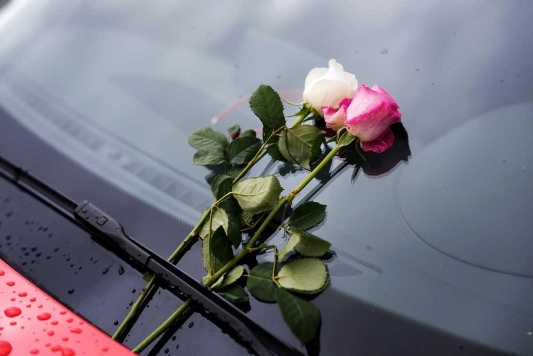 Blommor på vindrutan på en bil vid Umeå Fallskärmsklubb, på Umeå flygplats.