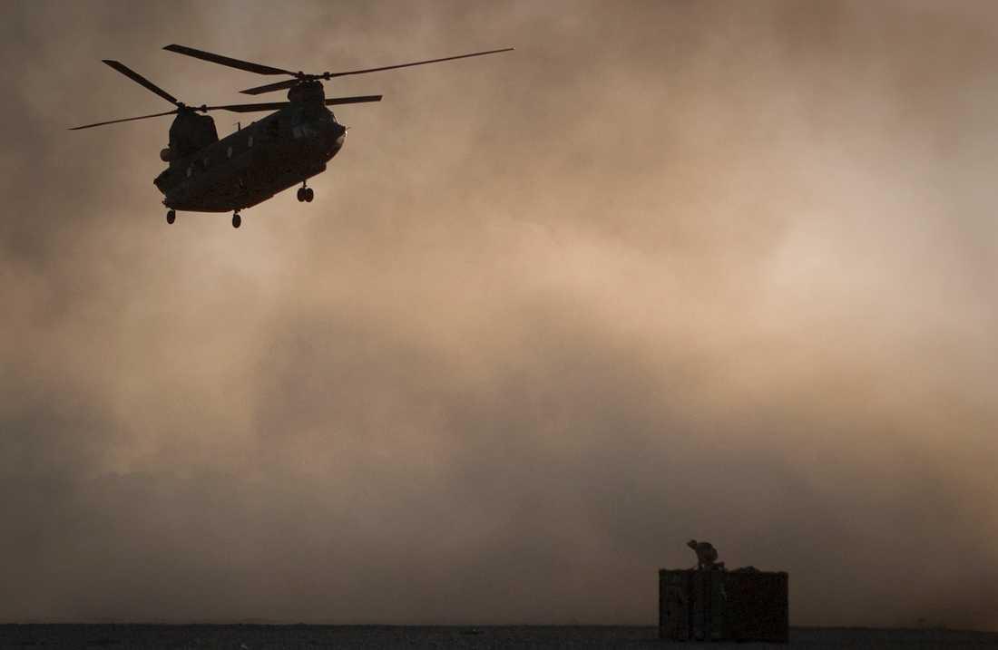 En amerikansk militärhelikopter i Afghanistan. Arkivbild.