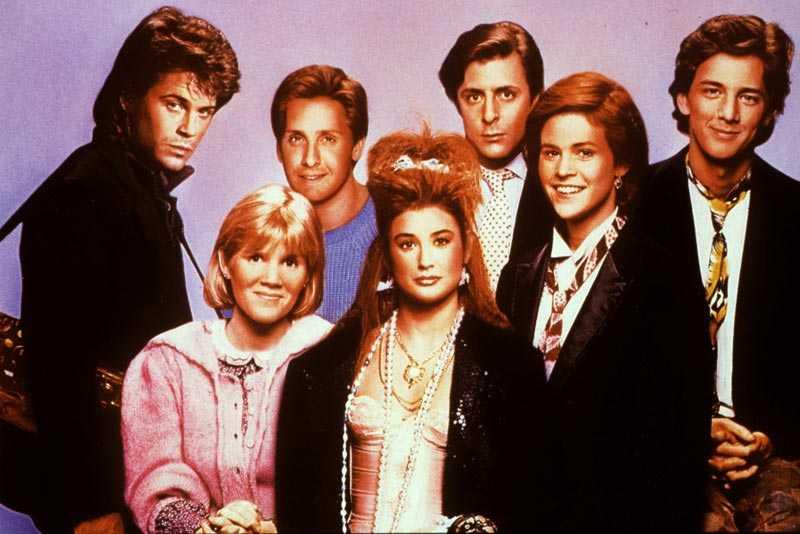 """St Elmo's Fire"" med Rob Lowe, Mare Winningham, Emilio Estevez, Demi Moore, Judd Nelson, Ally Sheedy, Andrew McCarthy."