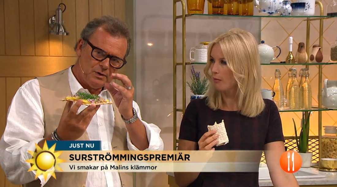 """Jenny Strömstedt och Steffo Törnquist i torsdagens """"Nyhetsmorgon""""."""