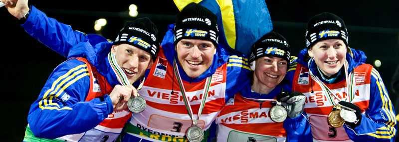 Fyra glada silvermedaljörer: Carl Johan Bergman, David Ekholm, Anna Carin Olofsson-Zidek och Helena Jonsson.