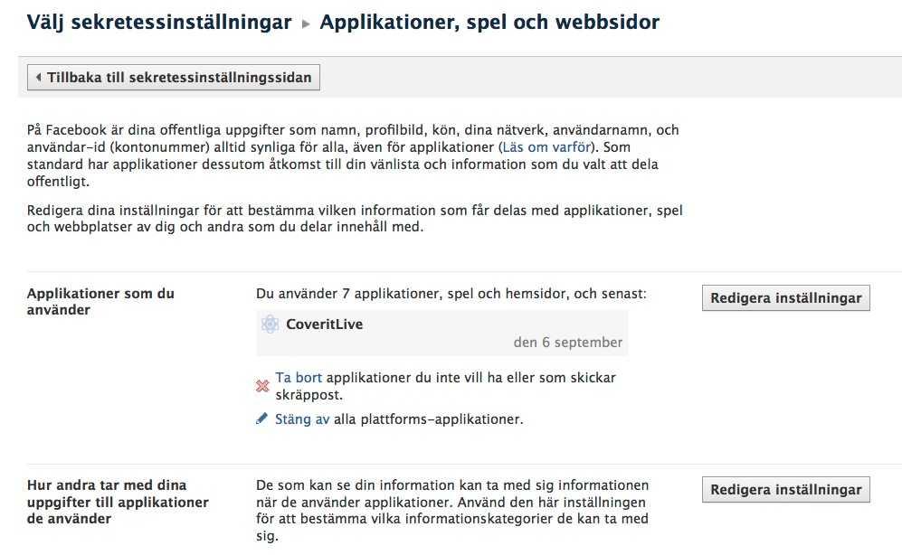 """4. I """"Applikationer och webbplatser"""" bestämmer du vilken information som får delas med applikationer, spel och webbplatser."""