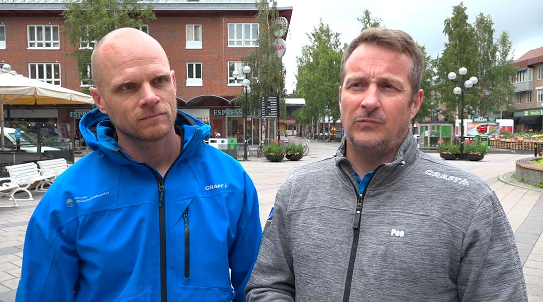 Petter Alfsson-Thoor, riksinstruktör för Svenska Fallskärmsförbundet, och Per-Olov Humla, ordförande för Svenska Fallskärmsförbundet.