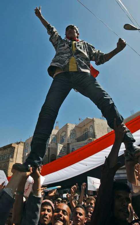 Demonstranterna hoppas på presidentens avgång.