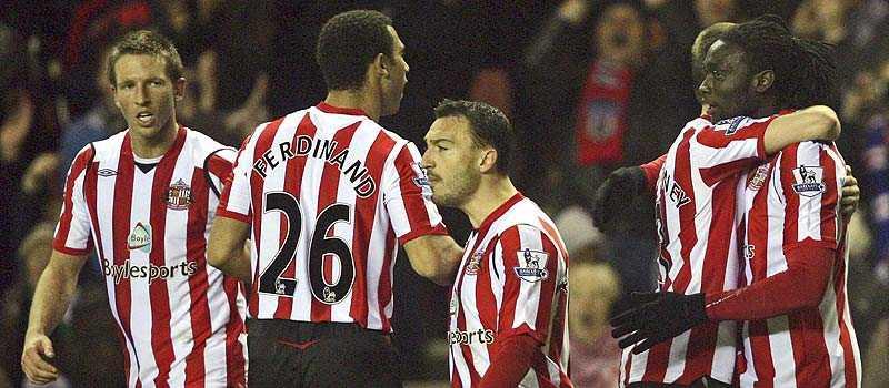 en vinnare Sunderland var ett av lagen som spelaren valde att tro på. Här jublar Kenwyne Jones (längst till höger) efter sitt segermål mot Fulham.