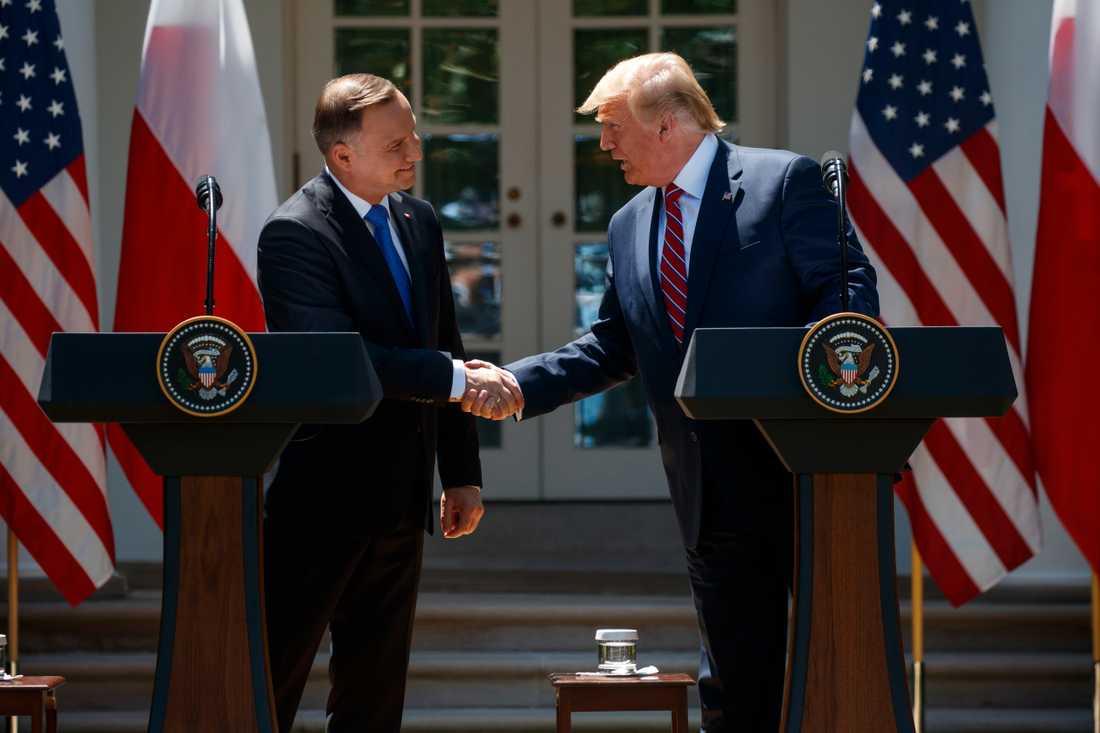USA:s president Donald Trump och Polens president Andrzej Duda skakar hand under mötet i Washington där avtalet om försvarssamarbete undertecknades.