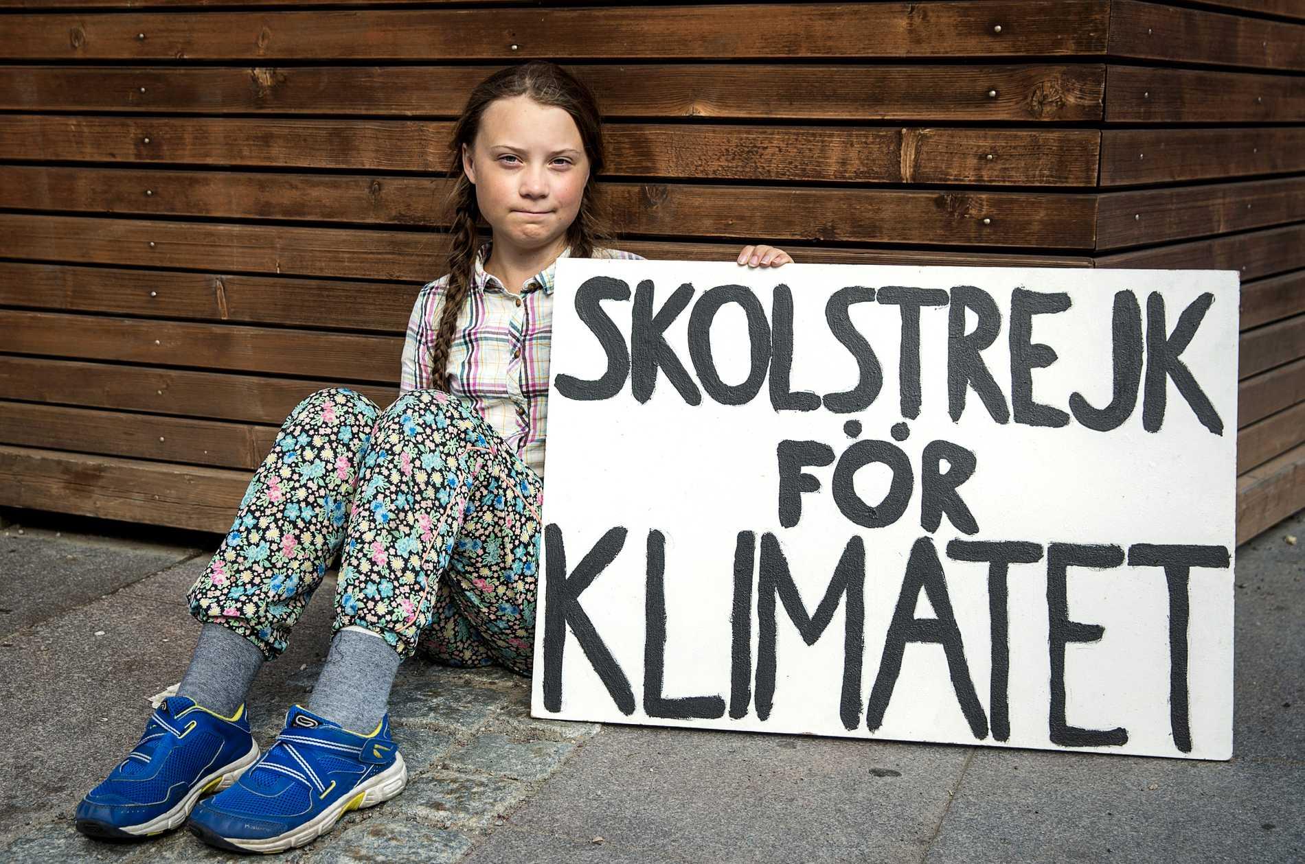 Greta Thunberg skolstrejkar för klimatet.