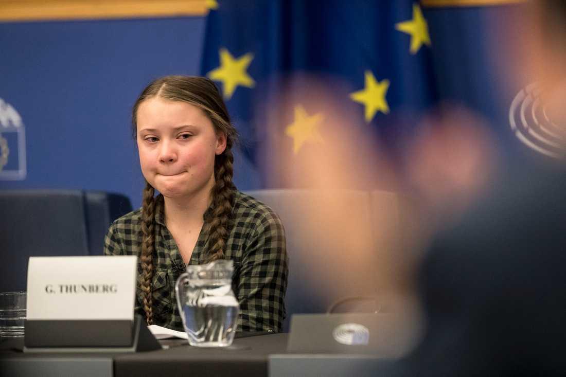 Klimataktivisten Greta Thunberg talade i miljö- och hälsoutskottet i EU-parlamentet.