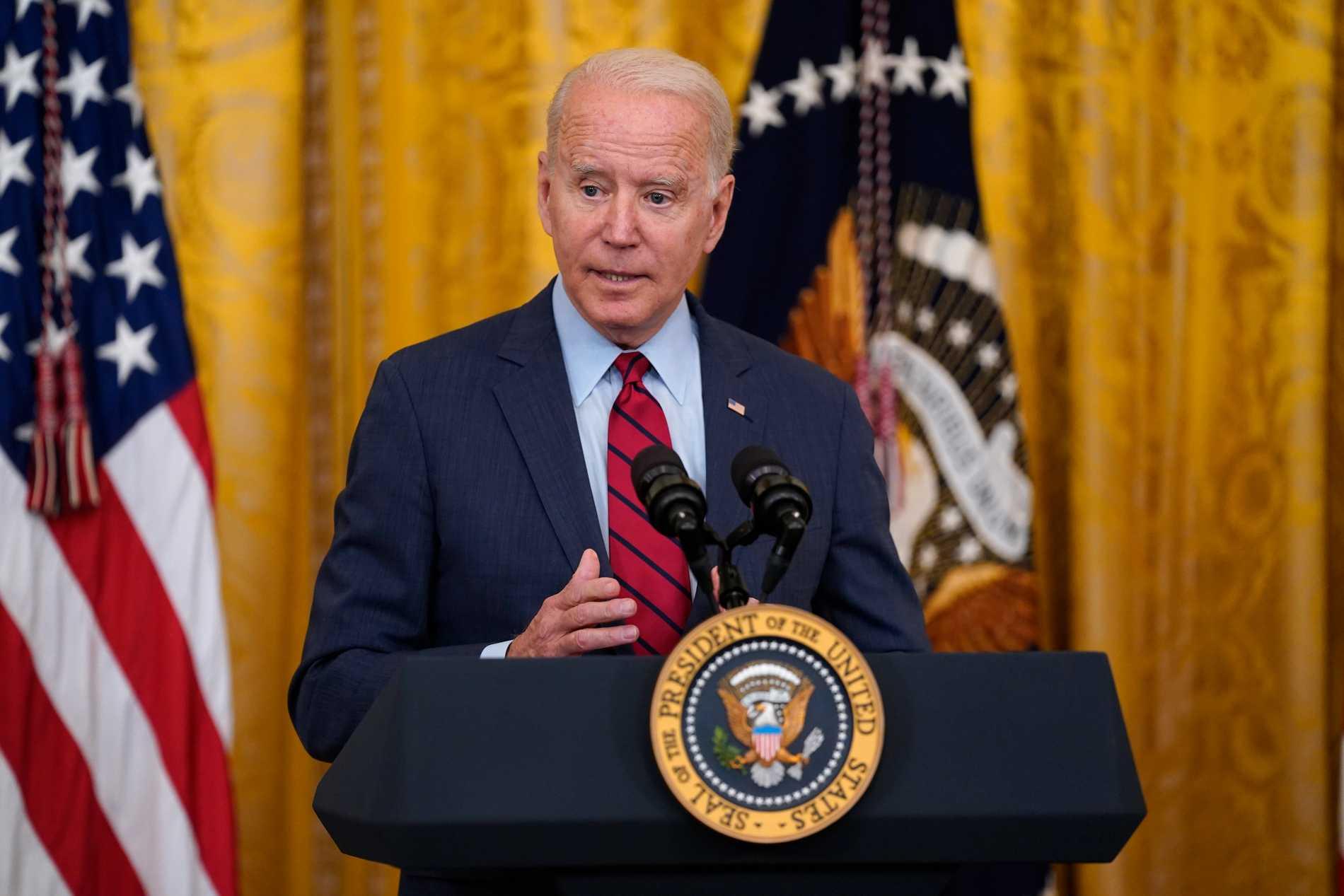 USA:s president Joe Biden i Vita huset berättar om infrastruktursatsningen.