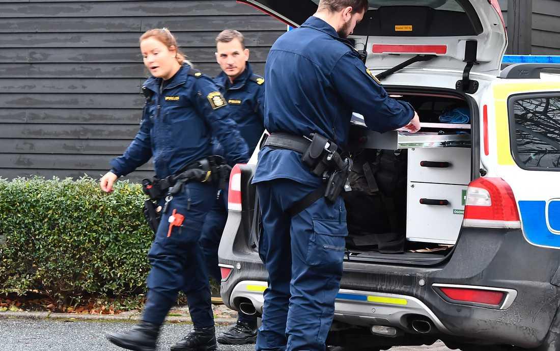 Polisen jagar två personer efter ett brutalt rån hemma hos en kvinna.