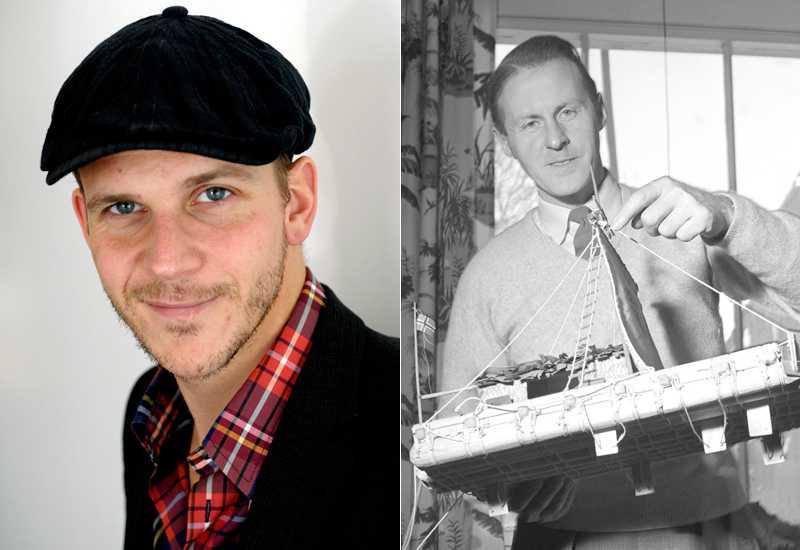 """Upptäcksresande Gustaf Skarsgård ska spela svenske Bengt Danielsson i en film om """"Kon-Tiki"""". Expeditionsledaren Thor Heyerdahl till höger med en modell av flotten."""