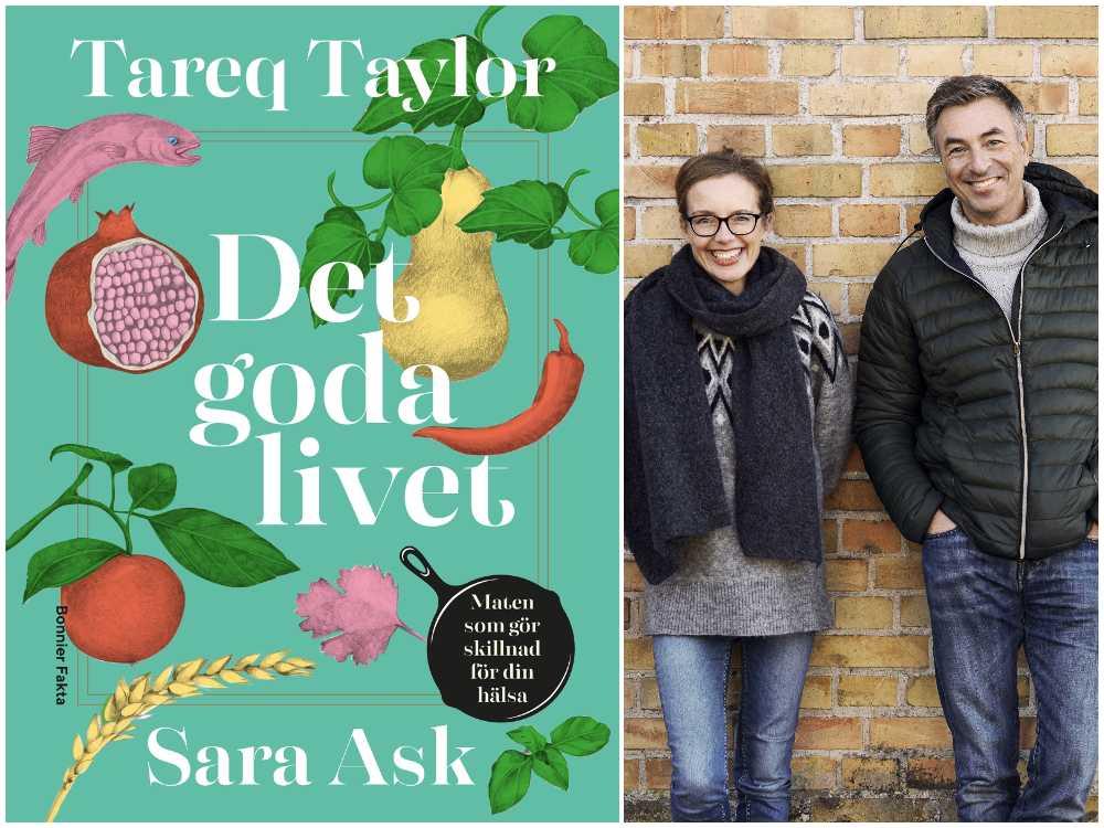 """Tareq Taylor och Sara Ask med sin nya bok """"Det goda livet"""", Bonnier fakta."""