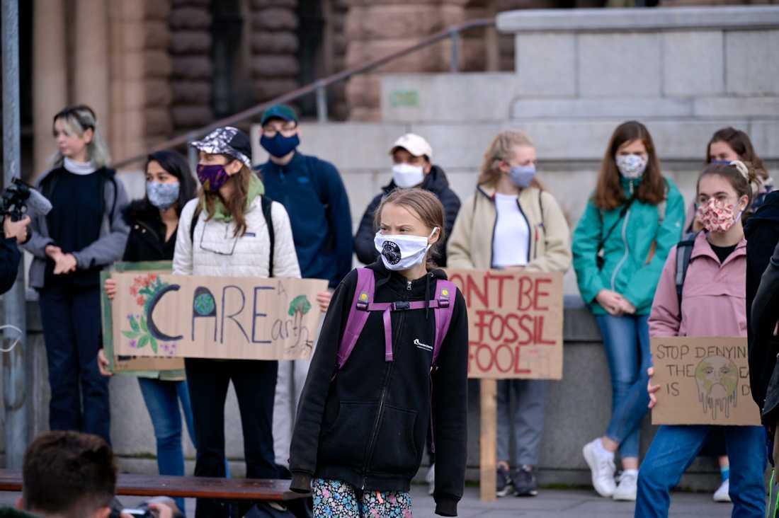 Greta Thunberg strejkar utanför riksdagshuset i Stockholm.